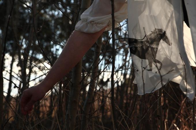 Screen printed silk blouse.