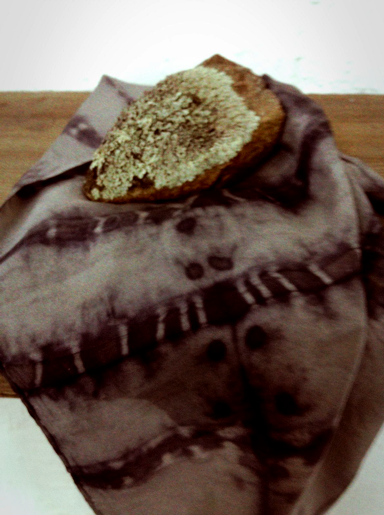 Silk satin scarf dyed with black rice, iron resist and rust.