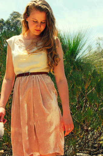 Hand sewn dress made from silk satin dyed with mulberries, linen and a vintage lace collar.