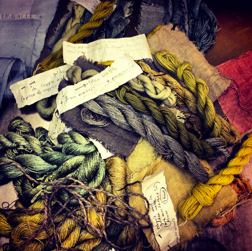 Natural dye thread samples.