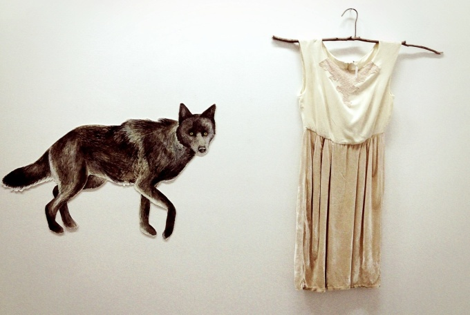 Wolf drawing and silk velvet, linen and vintage lace dress dyed with mulberries.